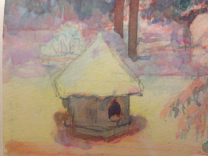 Snow, watercolour, 15 x 11 cm.