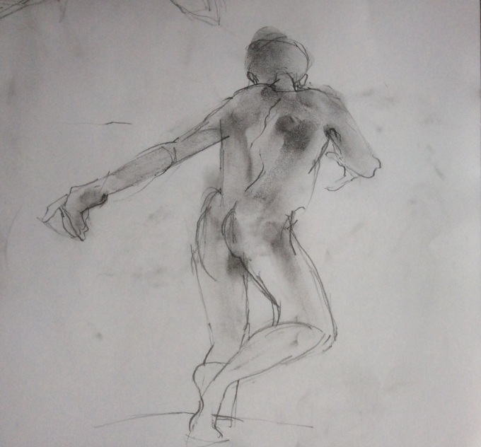 Dance, charcoal on paper.