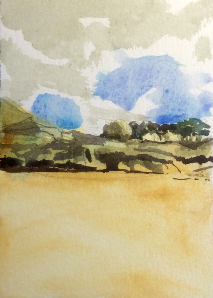 Dunes, watercolour, 15 x 11 cm