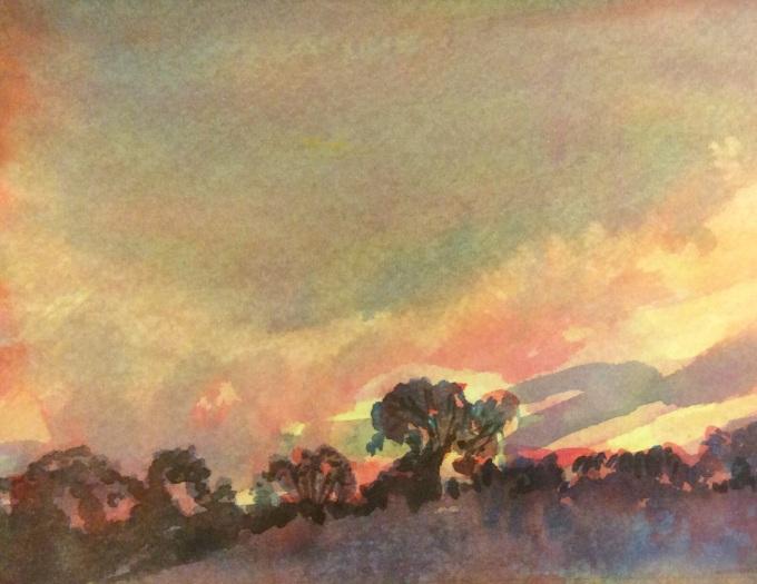 Spring Sunset, Watercolour, 15 x 11 cm