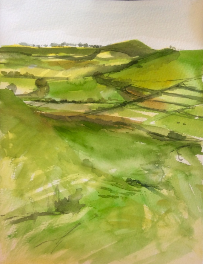 Cadbury Hill, watercolour, 22 x 30 cm