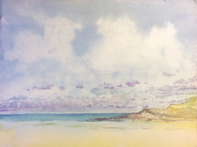 Weird Clouds, Daymer Bay, Watercolour, 30.5 x 22.9 cm