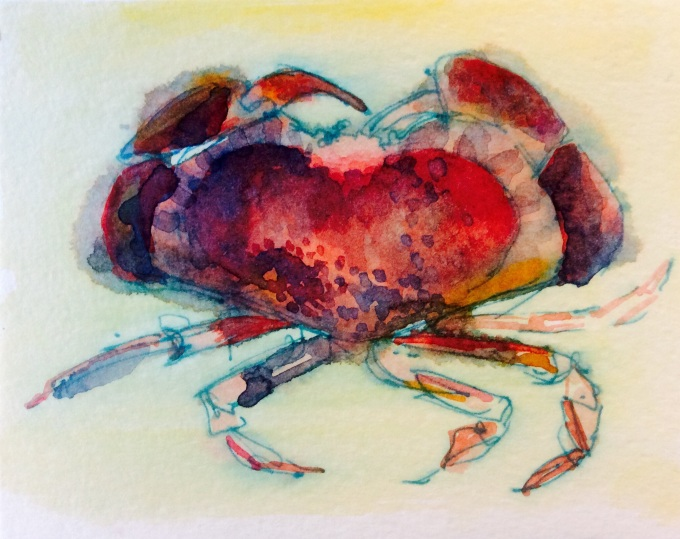 Crab, Watercolour, 12 x 15 cm