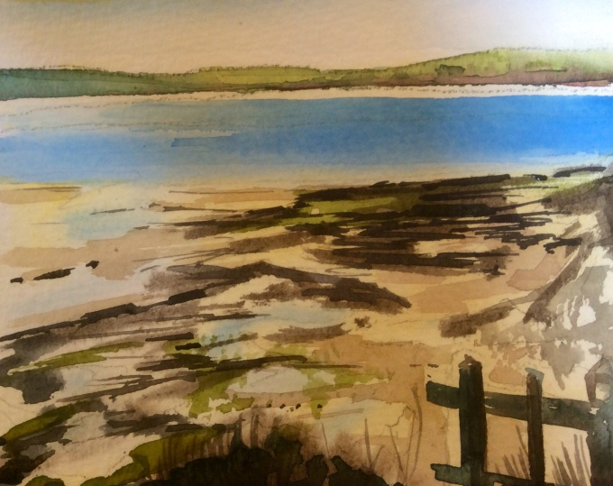 From the steps, Daymer. Watercolour, 15 X11 cm