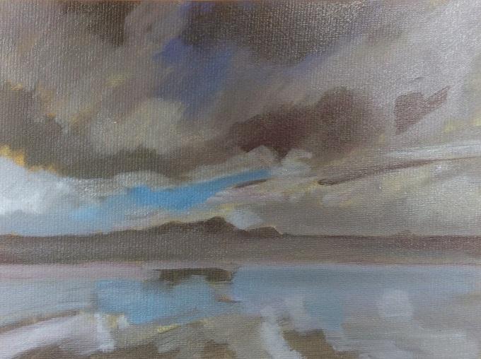 Polzeath, Storm on its Way, Oil on Board, 12 x 18 cm