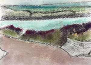 Rock, Cornwall, pastel on paper, pastel on paper, 10 x 5 cm