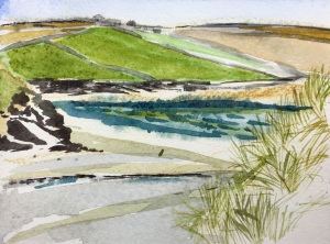 Dunes, Daymer Bay, Watercolour, 11x5cm