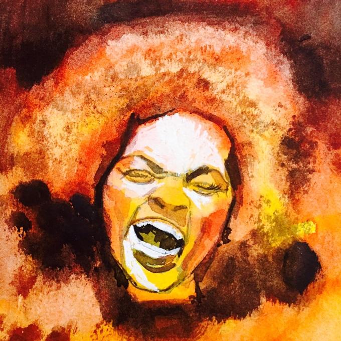 Portrait, watercolour and gouache, 20x 20 cm
