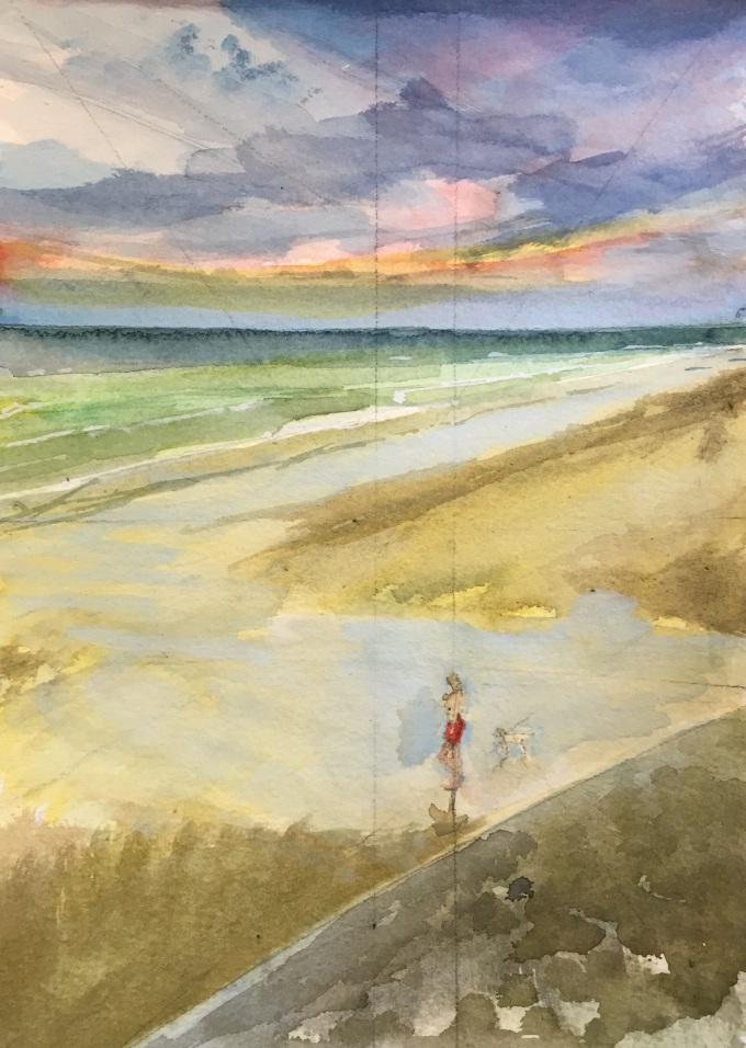 Onto the Beach, St Ouen, Jersey, Watercolour, 22.5 x 17.5 cm