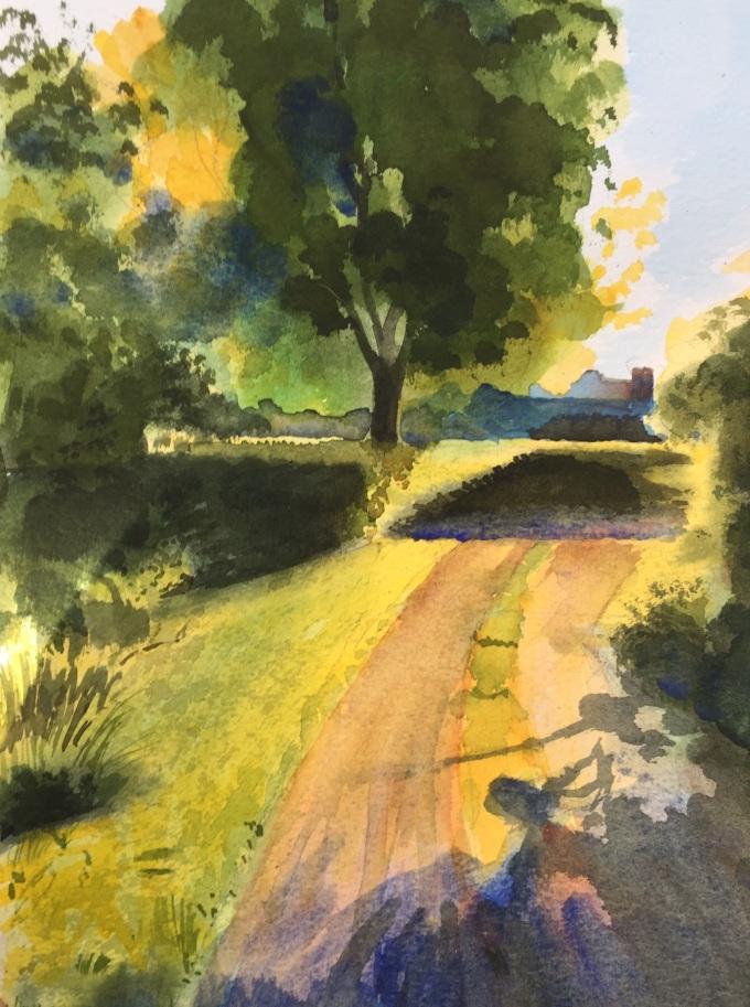 Morning Walk II, Watercolour, 17.5 22.5 cm