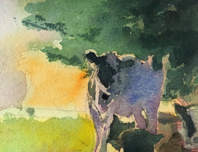 Early Morning Cattle, Watwrcolour, 12 x 17.5 cm
