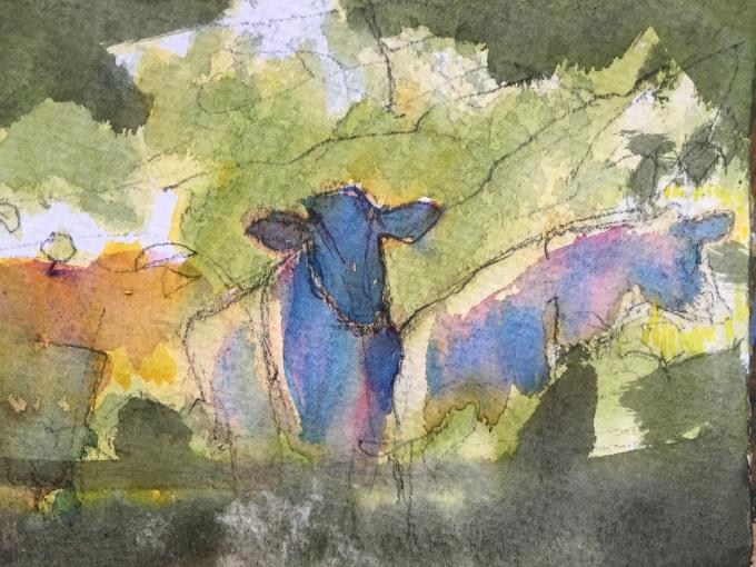More Cattle, Watercolour , 12 x 18 cm