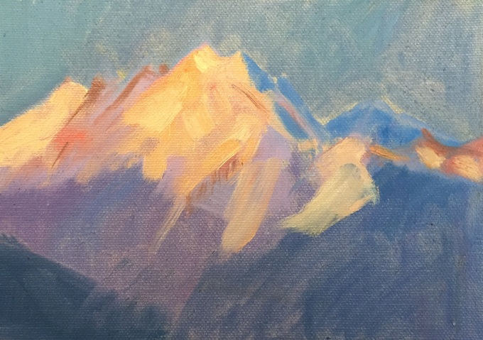 Alpine Evening, Oil on Board, 18x12 cm