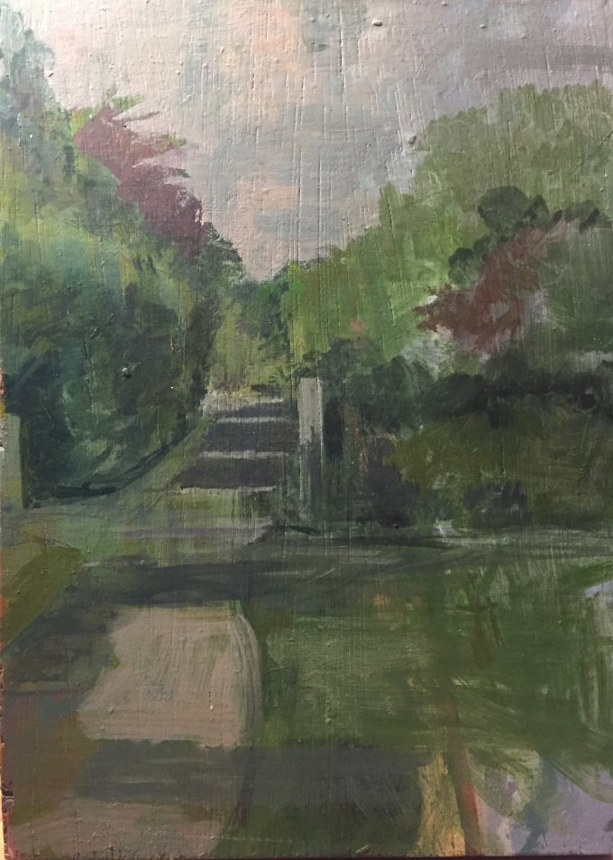 Tree lined pathway, oil on board, 28 x 20 cm