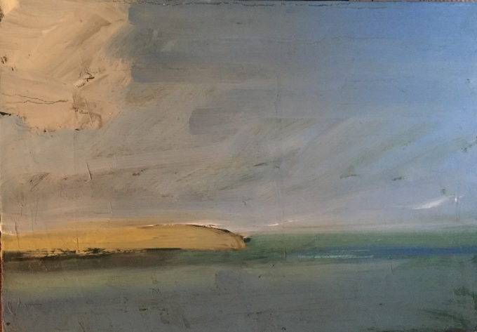 Heading out of Estuary, oil on canvas, 25x 35cm