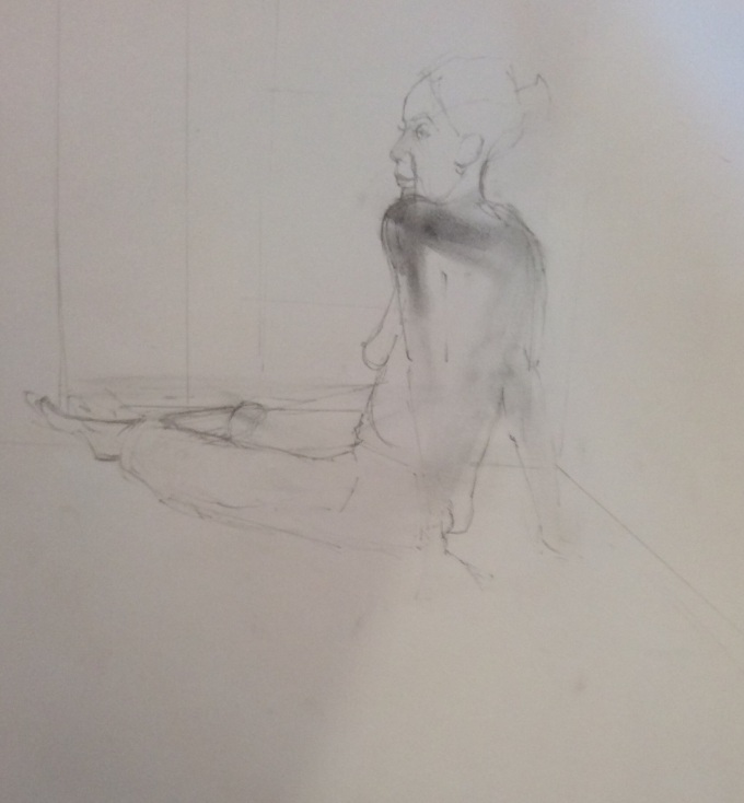 Joanna Sitting, Charcoal on paper