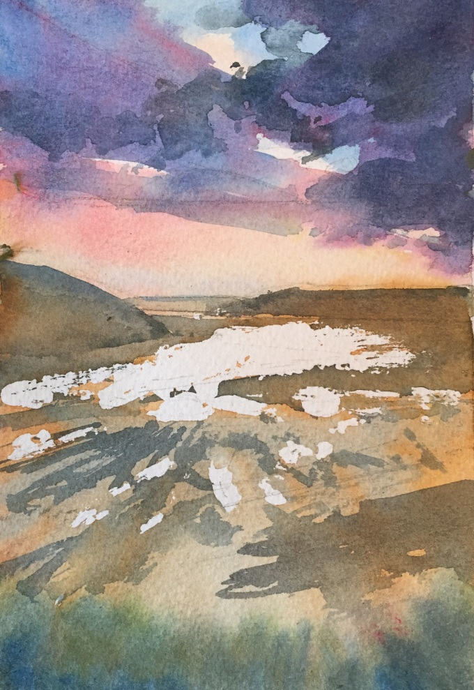 Feb Eve, Daymer Bay, watercolour sketch