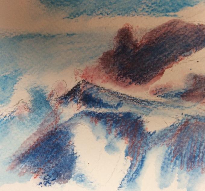 Les Carroz, watercolour sketch.