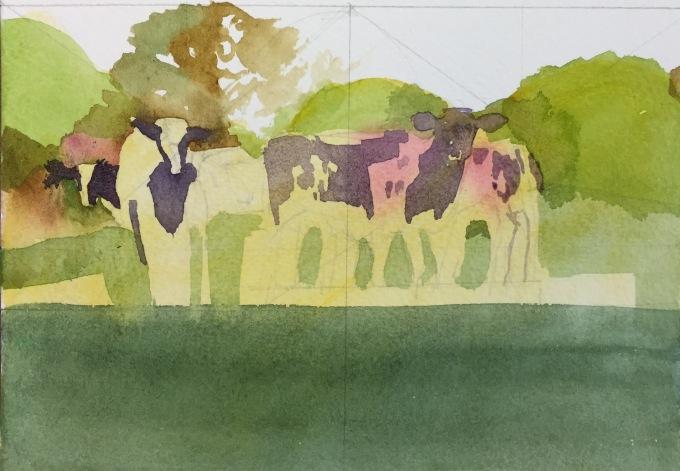 Cattle in May II, watercolour 17 X 12 cm