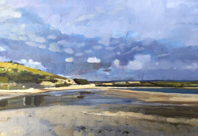 Tide Out, Rock, Cornwall, 19x35cm oil on Board